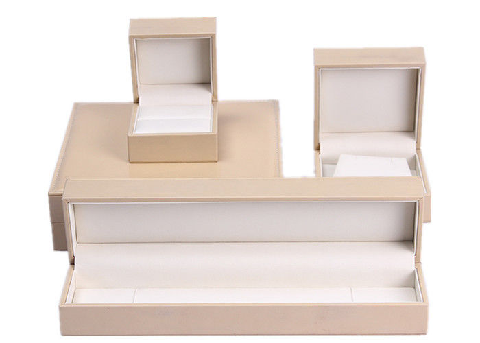 Fashion Beige Leather Flat Jewelry Box , Rectangle Personalised Jewellery Box